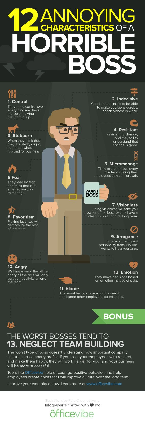 Bad Leadership Quotes 12 Annoying Characteristics Of A Horrible Boss Infographic