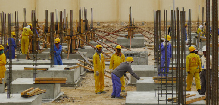 Migrant construction workers in Doha, March 2013