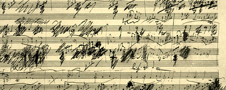 Beethoven's frenetic crossings out on the original manuscripts of his work