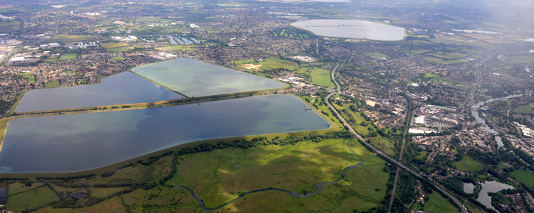 The King George VI reservoir, one of London's many lakes