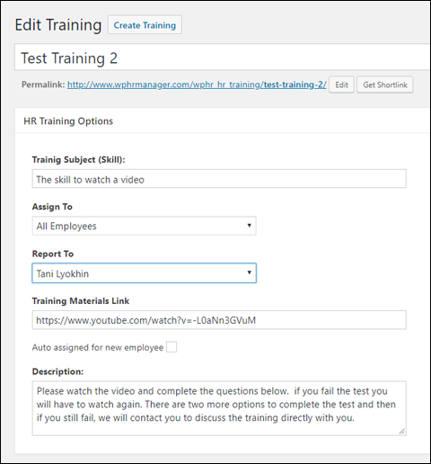 WP-HR Training Module Settings
