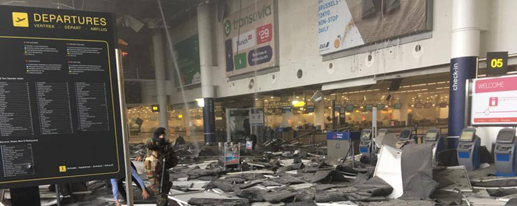 The scene today after a terrorist attack at the airport in Brussels