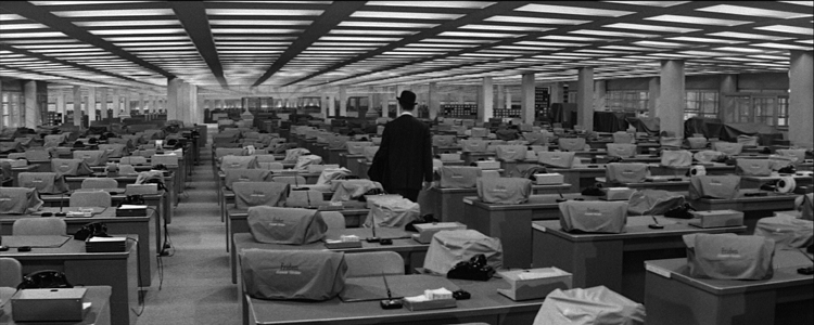 Banks of desks featured in the Billy Wilder film 'The Apartment'