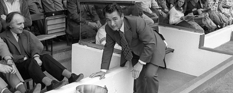 Brian Clough, one of the more legendary English football managers, cheering on his palyers at the start of a new year
