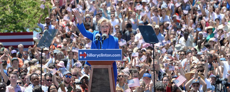 Hillary Clinton launching her campaign for president in the summer on Roosevelt Island in New York. She is in favour of providing paid sick leave to American workers
