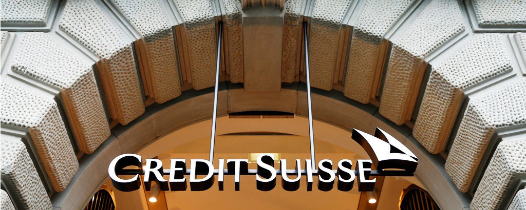 The logo of Swiss bank Credit Suisse is seen at the company's he