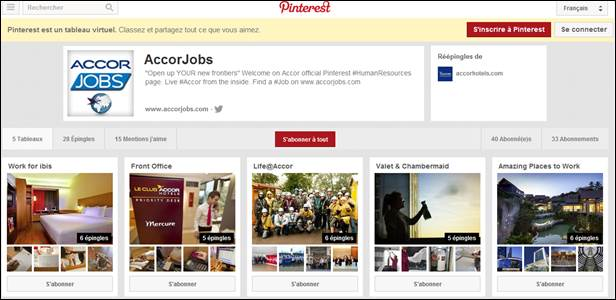Accor bolsters its online recruitment strategy with Pinterest