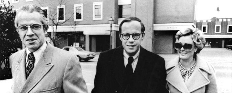 John Dean (centre) one of history's most famous whistleblowers, helped to bring down Richard Nixon's White House in the 1970s