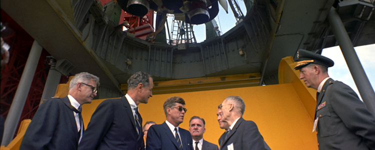President Kennedy visits NASA in 1963, the source of the famous employee engagement story