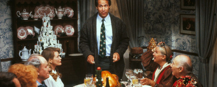 Chevy Chase prepares to carve the turkey at a National Lampoons Christmas dinner. The annual feast can be a minefield of awkward questions.