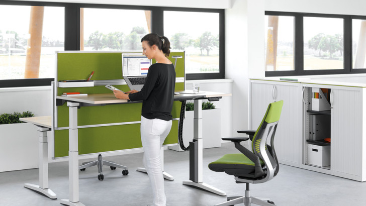 New desk allows health-conscious workers to stand up and work