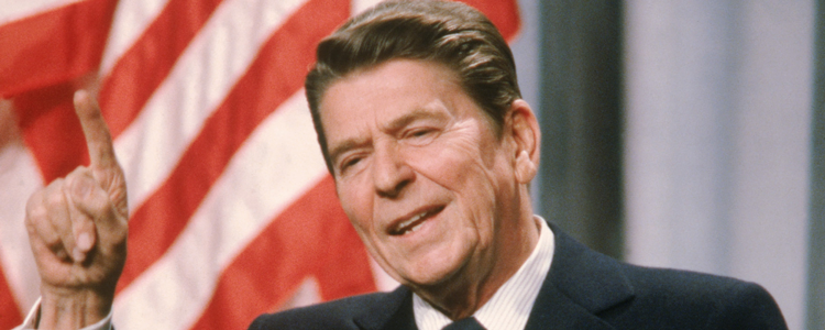 Ronald Reagan in his political prime in the 1980s