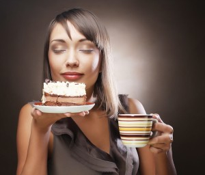 woman with cake and coffee