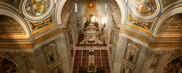 The interior of St Peter's Basilica in Rome, the HQ of Christianity