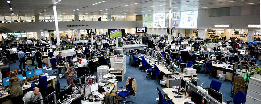 How would you feel about your desk time being monitored? The newsroom at Telegraph Media Group Photo by Lucas Schifres/Pictobank