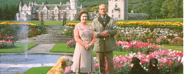 The Queen and the Duke of Edinburgh pictured outside their notably litter free Balmoral estate.