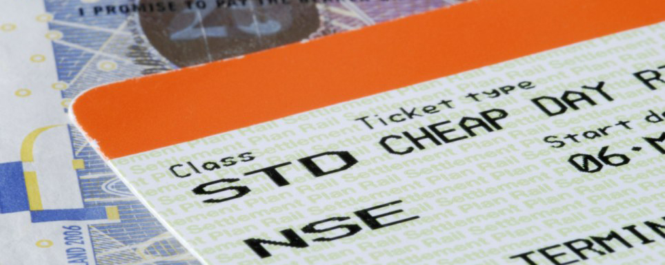 Close up of UK train ticket on top of banknotes 2008. Image shot 2008. Exact date unknown.